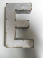 "9"" RUSTIC Reclaimed Metal Industrial LETTER E 2"" thick 3D TIN Sign ARCHITECTURAL"
