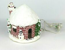 Christmas Lighted Ceramic House with Santa in Chimney