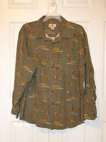 Woolrich Men's Shirt Size 2XL Flannel Shirt Long Sleeve Olive Green Duck Print