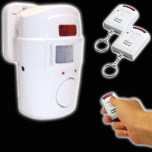 ALARMANLAGE 2 x Fernbedienung Haus Hausanlage Alarm Laut Bewegungs Melder Sensor