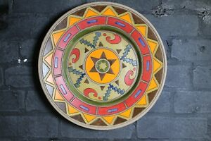 Ceramic wall plate plaque decorative geometric design signed by artist