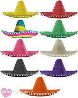 MEXICAN SOMBRERO HAT POM POMS WILD WESTERN BANDIT FANCY DRESS COSTUME ACCESSORY