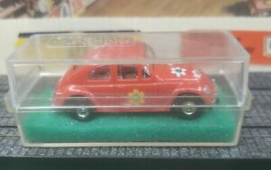 Aurora HO Tjet Original #1404 Volkswagen BUG in RED with chassis and box