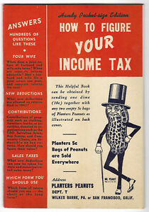 1942 Planters Peanuts How To Figure Your Income Tax Booklet Original Envelope