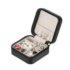 Small Black Travel Jewelry Box Organizer PU Leather Necklace Ring Storage Case