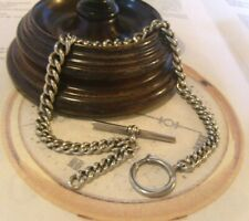 Antique Pocket Watch Chain 1890 Victorian Large Silver Nickel Albert With T Bar