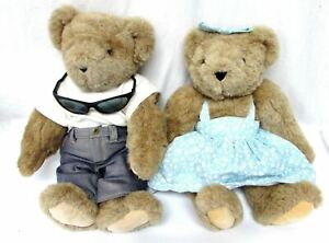 Vermont Teddy Bear lot of 2 girl blue dress and boy with sunglasses