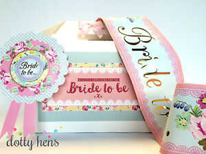 BRIDE TO BE GIFT BOX, SASH & ROSETTE | VINTAGE SHABBY CHIC | HEN PARTY KIT