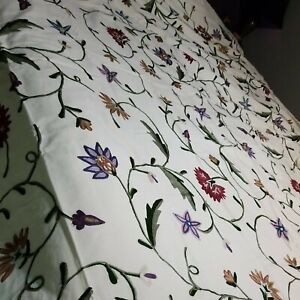 NEW Crewel Hand Embroidered On Cotton Duvet Cover  Bedspread Twin NEW MINT