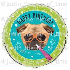 "Pug Cachorro Perro Chicas Chicos Decoración Fiesta Foil Balloon grande de 18"""