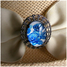 Hatpin - Blue Roses On Glass Cameo On Silver Finish