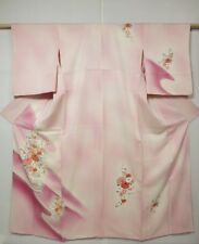 4213M09z940 Japanese Kimono Silk TSUKESAGE Light pink Flower arrangement