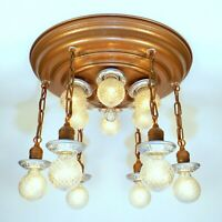 HUGE Antique Art Deco 12 Light Flush THEATER Chandelier Ceiling Fixture RESTORED