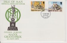 Unaddressed Isle of Man Cover FDC 1973 Manx Grand Prix Golden Jubilee 10% off 5