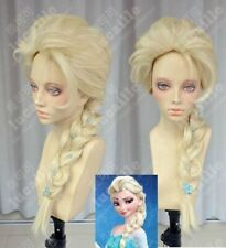 Braid Frozen Elsa Princess None Lace Cosplay Wig Synthetic hair Bleach Blonde