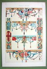 RENAISSANCE Plastic Ornaments Stone Wood Germany - 1880s Color Litho Print