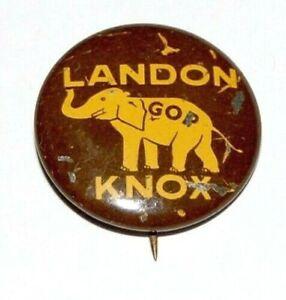 1936 ALFRED ALF LANDON KNOX campaign pin pinback button political presidential