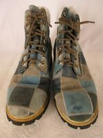 Timberland Mens Blue Patchwork Leather Boots 8.5M Limited Edition