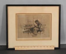RARE Antique Signed 85/100 GORDON GRANT Nautical Shipbuilder Ship Model Etching