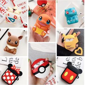 Wireless Ear Pod Air Earbuds Protective Silicone Case Cartoon Pokemon Minnie UK