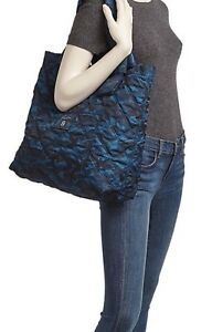 MARC JACOBS QUILTED KNOT CAMO PRINT NYLON TOTE BLUE / BLACK ~ NWT  DUST BAG