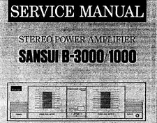 SANSUI B-1000 B-3000 Stereo Power Amp Service Manual inkl. Schems Printed eng