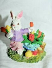 "T2=Estate Easter Decor 3"" Tall Resin Bunny in the Flower Garden Picking Look"