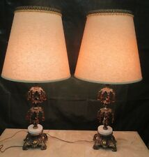 PAIR VINTAGE RETRO MID CENTURY ITALY  HOLLYWOOD REGENCY TABLE LAMPS NO SHADES
