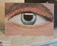 Quadro moderno dipinto a mano su legno occhio realistico grandezza 60x40 cm.