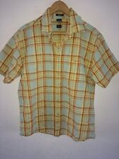 Okey Mens Cotton Shirt Size L Short Sleeve Tangerine Check <R6745