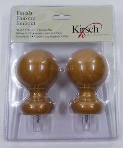 """Kirsch Wood Ball Finials for 1 3/8"""" Diameter Pole-1 Pair Warm Oak"""