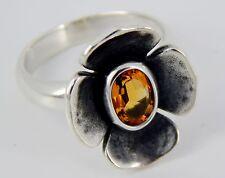 RARE Retired James Avery Sterling Citrine Flower Ring MINT