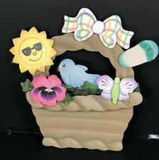 Wood Easter Basket Wall Door Art Sun Bluebird Bow Flip Flop Butterfly Flower NEW
