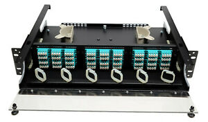 144 Fiber 2RU Rack Mount FDP Patch Only w/ 36 LC OM3/4 Quad Adapters Multimode