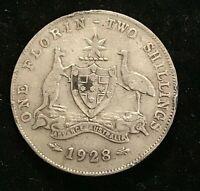 Australia, 1928 Florin, 2/-, George V Silver - Very Fine