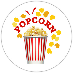 70 x Popcorn Fun Movie Film Style NON personalised stickers labels 37mm
