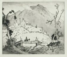 A fine etching by Harrison Cady, Smokey Mountains, N.C.  pencil signed