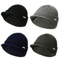 Men Women Winter Knit Hat Ski Cap  Beanie with Brim Watch Cap Woolen Yarn Hat