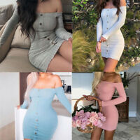 Women's Long Sleeve Sexy Off Shoulder Knitted Sweater Party Bodycon Mini Dress