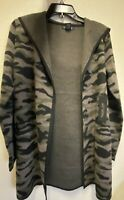 Rachel Zoe Camouflage Hooded Cardigan Sweater Front Pockets Size Medium