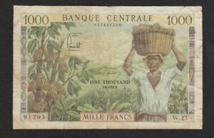 1000 FRANCS VG  BANKNOTE FROM CAMEROUN 1962 PICK-12 RARE