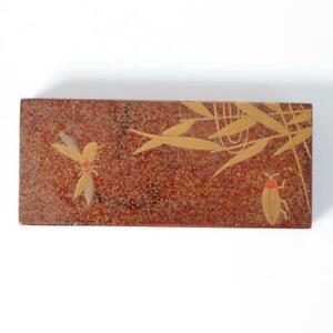 Japanese Antique wooden Gold Makie box Nashiji WBX61