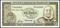 1987 Tonga 1 Pa'anga Banknote * B/1 933397 * gEF * P-19c *