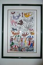 "James Rizzi original 3-D print ""It's Raining Cats and Dogs"" Signed"