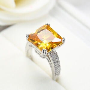 Gorgeous Shiny Natural Huge Golden Citrine Gemstone Silver Woman Ring  Size 6-10