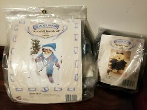 """1993 Treasured Toggery 12"""" 8"""" TEDDY BEAR Outfits CAT Downhill SKIER Skis GLASSES"""