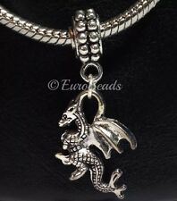 *3D DRAGON*_Bead for Silver European Chain Charm Bracelet_Fire Fantasy Wings_F10