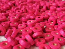 250 PINK COLOUR ROUND FLAT SHAPE WOOD BEADS 8 mm = W0022