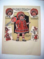 "RARE 1925 Advertising Print for ""Flossie Flirt"" Doll w/ Roguish Rolling Eyes *"