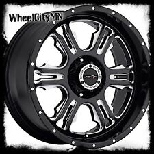20 inch black milled Vision Rage 397 wheels rims Dodge Ram 1500 20x9 5x5.5 +12